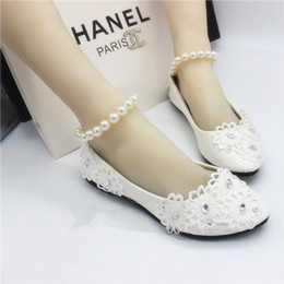 Wholesale toe ankle bracelets - White Flat Shoes Handmade Wedding Bride Wedding Shoes Lace Pearl Bracelet Strap Beaded Bridesmaid Shoes Ivory Bridal Shoes Bridal Shoes