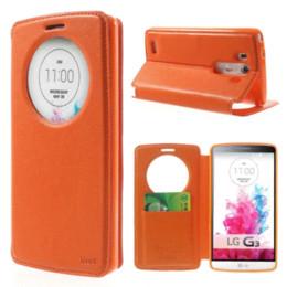 Wholesale Korea Flip Phone Case - For LG G3 Case Roar Korea Noble Leather Quick Circle View Magnetic Flip Phone Case Stand Cover for LG G3 D850 D855 LS990