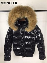 Wholesale Short Orange Fur Jacket - Women Winter M Duck Down Coat 100% Real Large Raccoon Fur Collar Down Jacket Hooded Thick M Duck Down Parkas 4 colors
