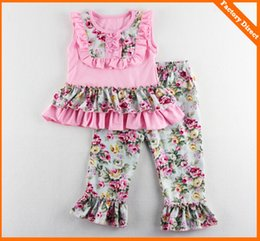 Wholesale Wholesale Ruffled Girls Tshirt - Baby girl summer clothes girls ruffle pants sets kids tutu lace tops tshirt + floral pants 2pcs suit children boutique outfits