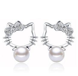 Wholesale Earrings Kitty Cat - Conch Pearl Stud Earrings Crystal Halo Cat Bohemian Kitty 925 Sterling Silver Stud Wedding Earrings For Women Korean Jewelry Brand New Hot