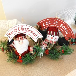 Wholesale Wholesale Hang Drum - Merry Christmas Party Poinsettia Pine Wreath Door Wall Garland Decoration Hanging Ornament Snare Drum Festival Xmas Tree Hanging