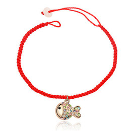 Wholesale Traditional Jewellery China - Chinese Styles Woman Fashion Red Rope Bracelets 18k Gold Plated Fish Pendants Charm Bracelets Crystal Casual Girl Jewellery 3994