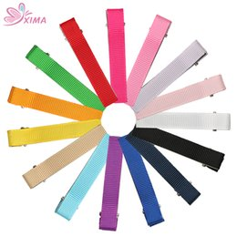 Wholesale hairpins for kids - XIMA 30pcs lot 2.4''(60mm) Ribbon Solid Cloth Clip Hairpin for DIY Kids Hair Accessories Hair Clips with Teeth 15 Colors