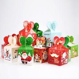 Wholesale Apple Box Toys - 20 PCS Cube Cartoon Christmas Santa Candy Box Kids Party Paper Christmas Cartoon Apple Folding Gift Box