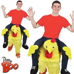 Wholesale Custom Chicken Costume - HOT Yellow chicken Stuffed Ride On Me Stag Mascot Costume Carry Piggy Back Fancy Dress Costume