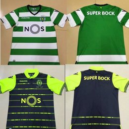 Wholesale Camisas Sport - Top Thai quality 2017 2018 Sporting Lisbon Home Soccer Jersey camisas de futebol 17 18 Luis Figo Nani TEO Slimani William away football shir