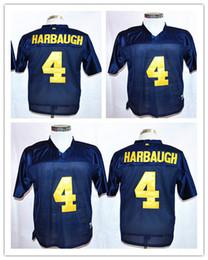 Homens faculdade futebol on-line-NCAA Michigan Wolverines # 4 Jim Harbaugh dos homens de alta qualidade de Futebol ao ar livre camisas de futebol da faculdade de futebol Tamanho S-XXXL Pode ser misturado lote