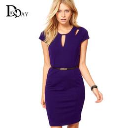 Wholesale Purple Work Dress - XXXL Women Summer Purple Back Zipper Hollow Out Slim Elegant Business Office Lady Bodycon Formal Pencil Dress Plus Size