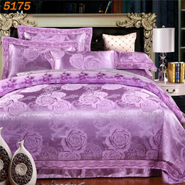Wholesale Orange Flowered Comforter - Beautiful flowers silk bedding sets tencel silk home textile comforter cover bed sheets pillow cases jacquard bedding-set 5175