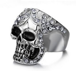 Wholesale Titanium Skull Rings For Men - Fashion Men's Day of the Dead Skull Ring Stainless Titanium Steel Punk Large Fashionable Flower Skull Rings for Men