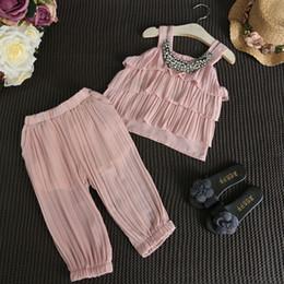 Wholesale Cute Harem Pants Pockets - 2016 Summer Baby Girls Sleeveless Ruffle Suspender Vest Tops+Harem Pants 2pcs Sets Kids Outfits Cute Children Clothing Girl Suit 5sets lot