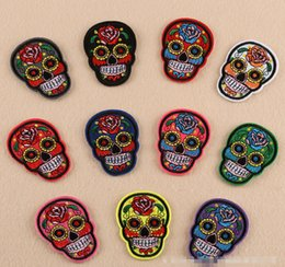 Wholesale Patches Flower Clothing - Hot DIY Flowered Skull embroidered patches 5.4*7.3cm for sewing Bag clothing patches iron on sewing accessories applique