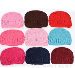 Wholesale Children S Winter Hats Girls - 2016 New Children Girls Boys Knitted Hats Baby Candy Color Handmade Weaved Cotton Kids Hats Size S M L Hollow Out Hats B4101