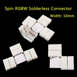 Wholesale Connectors For Rgb - Wholesale-5pin LED Strip Clip, 5 pin RGBW RGBWW LED Strip Connector For 10mm width 5050 RGB+W RGB+WW Light Strips