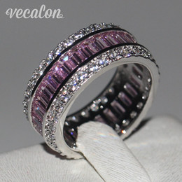 jewelry set african pink Promo Codes - Vecalon Women Fashion Jewelry ring Simulated diamond Pink Sapphire Cz 925 Sterling Silver Female Engagement wedding Band ring