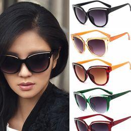 Wholesale Large Mirrors Wholesale - New Gradient Sunglasses Retro Large Frame Soculos De Sol Feminino Women Brand Fashion Sunglasses Cat Eye Frame Mirror Sun Glasses Flat
