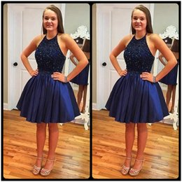 Wholesale 8th Grade Prom Dress Blue - Fashion Navy Blue A Line Short Homecoming Dresses 2017 Hot Sale Party Prom Dress Halter Beaded 8th Grade Graduation Dress