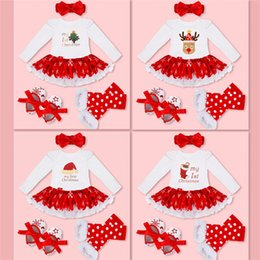 Wholesale Girl S Cloth Set - Christmas Baby Costumes Cloth Infant Toddler Baby Girls My First Christmas Outfits Newborn Christmas Romper Set