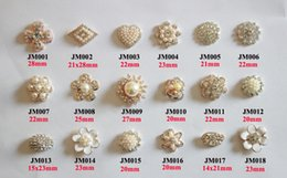 Wholesale Embellishments Hair - Free Shipping Wholesale 40pcs lot Mix Designs Flatback Rhinestone Button For Hair Flower Wedding Embellishment LSRB0817