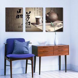 Wholesale Pictures Feng Shui - Feng Shui Wall Art Canvas Hd Print Decorative Zen Picture Chinese Tea Culture Pin Ming Set30181