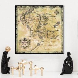 Wholesale Middle Earth - ZZ1476 1 Pcs The Rings Middle Earth Map The Retro canvas Poster Movie Posters Bar Decoration canvas oil art painting unframed