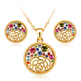 Wholesale Necklace Earings Wedding - 18k gold plated women austrian crystal wedding rhinestone Valentine's day party fashion Cz diamond necklace earings Africa new jewelry sets