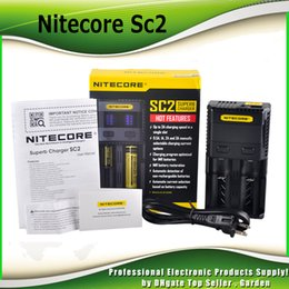 Wholesale Free Leads - Original Nitecore SC2 SC4 Charger 2 Bay Intelligent Charger LED Light 18650 18350 14500 Battery original Charger 100% genuine DHL Free