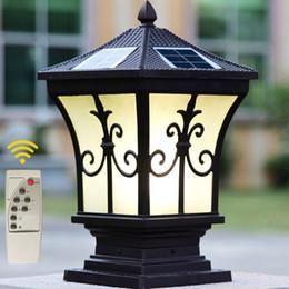 Wholesale White Lamp Post Light - Solar power led post lights super bright outdoor waterproof garden lights LED solar lights home post lamps outdoor villa deck yark