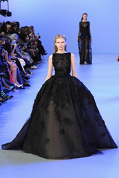 Wholesale Short Ball Gowns For Prom - 2016 Elie Saab Black Evening Dresses Ball Gown Tulle Appliques Lace Celebrity Luxury Party Gowns For Women Formal Dress Custom Made In China