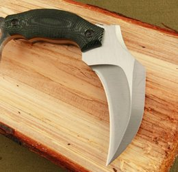 Wholesale Micarta Knife Handles - 2016 New Arrival Karambit Outdoor Fixed blade Survival Claw knife 5Cr13 57HRC Satin Blade Micata Handle tactical knife knives