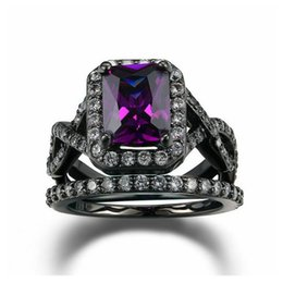 Wholesale Gun Rings For Women - Luxurious Imitation Crystal Purple Crystal Fashion Ring Set Black Gun Plated Party Jewelry For Women Wholesale R480