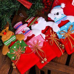 Wholesale Santa Bear - Christmas decorations Children gift bag Christmas tree hanging Christmas gift bag cartoon santa snowman elk bear bags IC837