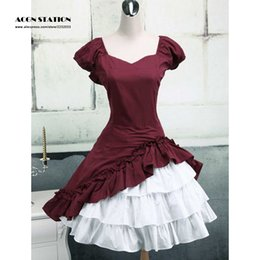 Wholesale Op Shorts - Wholesale-2016 New Fashion Wine White Lolita OP Dress Short Sleeves with Ruffles
