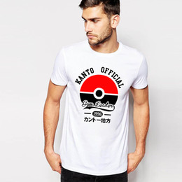 Wholesale Wholesale Adult T Shirts - Poke ball print T-shirt multicolors men's casual short sleeve T-shirt cartoon printing T-shirt for adult and teenage EMS free shipping