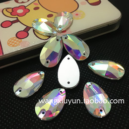 Wholesale Sewing Letters - 7x12mm 10.5x18mm 13x22mm 17x28mm 22x38mm Sew on Pear Rhinestone Crystal AB color Droplet sewing crystal