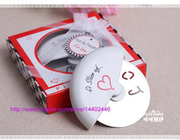 Wholesale Pizza Cutter Slice Love - 100pcs A Slice of Love Pizza Cutter knife in Miniature Pizza Box Favors Decoration Wedding Favor Gifts DHL Fedex Free shipping