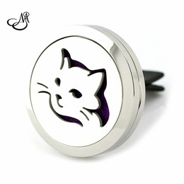Wholesale Magnetic Oil - New Silver Cat Design Aromatherapy Car Locket 30mm Magnetic Stainless Steel Essential Oil Diffuser Perfume Clip car Locket Jewelry