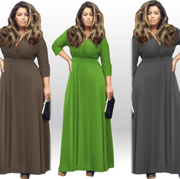 Wholesale Green Derss - Plus Size L-XXXXL Sexy Women Summer Maxi Solid V-neck Three Quarter Sleeve Elegant Evening Party Derss Free Shipping