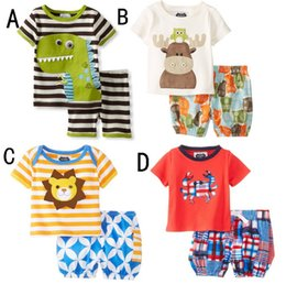 Wholesale Dinosaur Tops - Baby Cartoon Animal Dinosaur Deer 2pcs Suits Sets Top+Shorts Girls Boys Outfits Baby Clothes Children Clothing Kids Wear K7184