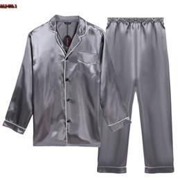 Wholesale Plus Size Black Satin Pajamas - Wholesale-Plus Size Bathrobe Pajamas Set Long Sleeve Turn Down Collar Mens Satin Pajama Single-Breasted Sexy Sleepwear Pajamas For Men R15