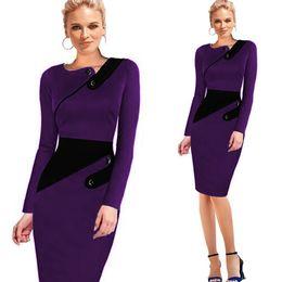 Wholesale Rockabilly Pencil Dresses - 2016 Autumn Dress Womens Vintage Rockabilly Elegant Cap Sleeve Wear To Work Business Casual Tunic Bodycon Sheath Pencil Dress