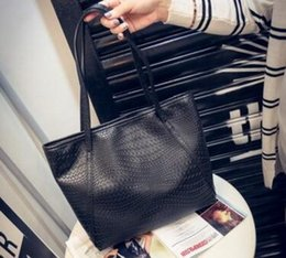 Wholesale Shopping Tote Bag Pattern - New recommend women fashion crocodile pattern large-capacity shopping shoulder bags designer candy color leisure luxury handbags wholesale