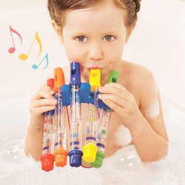 Wholesale Early Childhood - Hotsale five colored water flute baby children early childhood bathroom bath toy water play music flute DHL SF Express free shipping