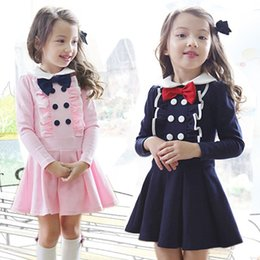 Wholesale Korean Wearing Dresses - Korean Baby Girls Preppy Style double breasted bow dresses Long Sleeve Princess Dress Child Clothes Boutique Clothing Kids wear Pink navy