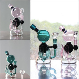 Wholesale Leaf Glass Bowl - Joint 14.4mm Leaf Style Bong 20cm Tall Hunter and Pink Glass Bongs with Bowl Filler Percolator Oil Rigs Glass Bongs Free Shipping