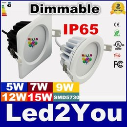 Wholesale Led Sauna Lighting - 3 Years Warranty Dimmable Led Outdoor Lights Round Square 5W 7W 9W 12W 15W Sauna Room Waterproof Led Downlights IP65 bathroom AC 85-265V
