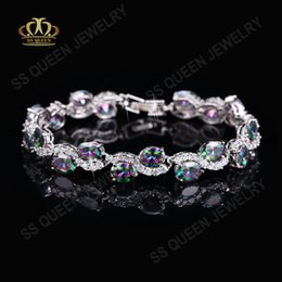 Wholesale Mystic Topaz Sets - High-end 18k white gold  platinum plated precious colored Rainbow Mystic topaz bracelet for socialite Queen free shipping