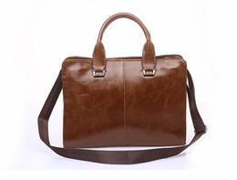 Wholesale Men S Business Briefcases - The new men 's bag shoulder Messenger business briefcase retro bag   men' s handbags   men briefcase