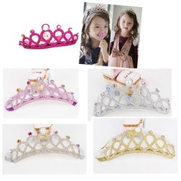 Wholesale Tie Head Bands - Baby Glitter Crown Kid Headband 5 Colors Option Elastic Hair Ties Boutique Toddler Birthday Gift Head Band
